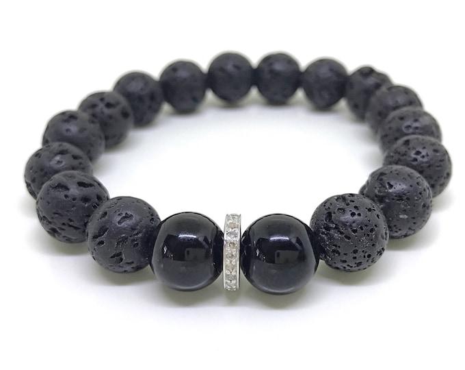 Black gemstone & 0,22 carat real diamond male bracelet