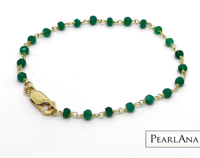 Real green emerald bracelet with 14K gold over Sterling silver chain