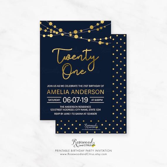 printable 21st birthday invitation elegant 21st birthday etsy