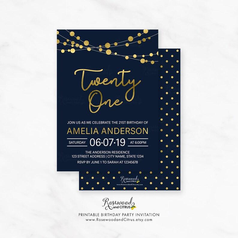 Printable 21st Birthday Invitation Elegant