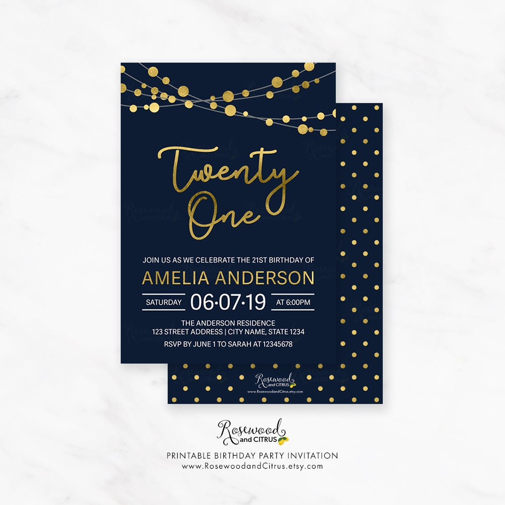 Printable 21st Birthday Invitation Elegant