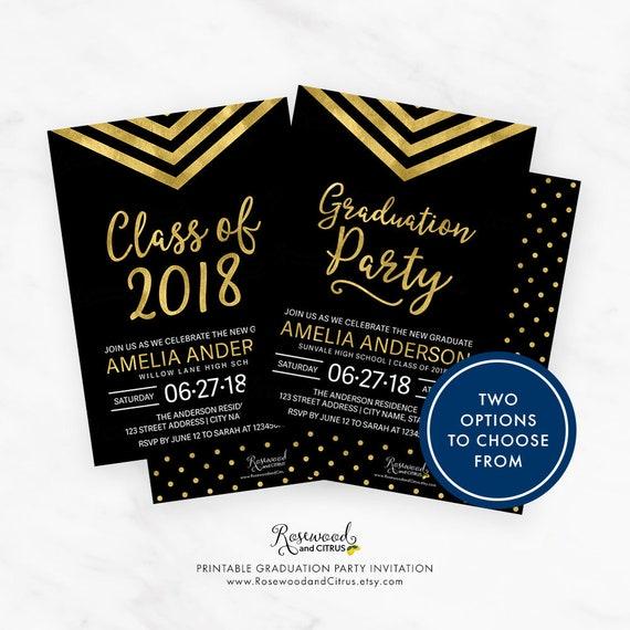 class of 2018 graduation invitation printable grad party etsy