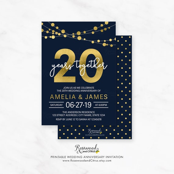 Items Similar To 20th Wedding Anniversary Party Invite