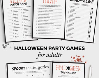 5 halloween games bundle fun halloween party games for adults and teens instant download 5x7 halloween printable adult halloween