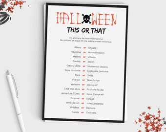 halloween game for adults or teens this or that fun halloween party game would you rather instant download 5x7 printable