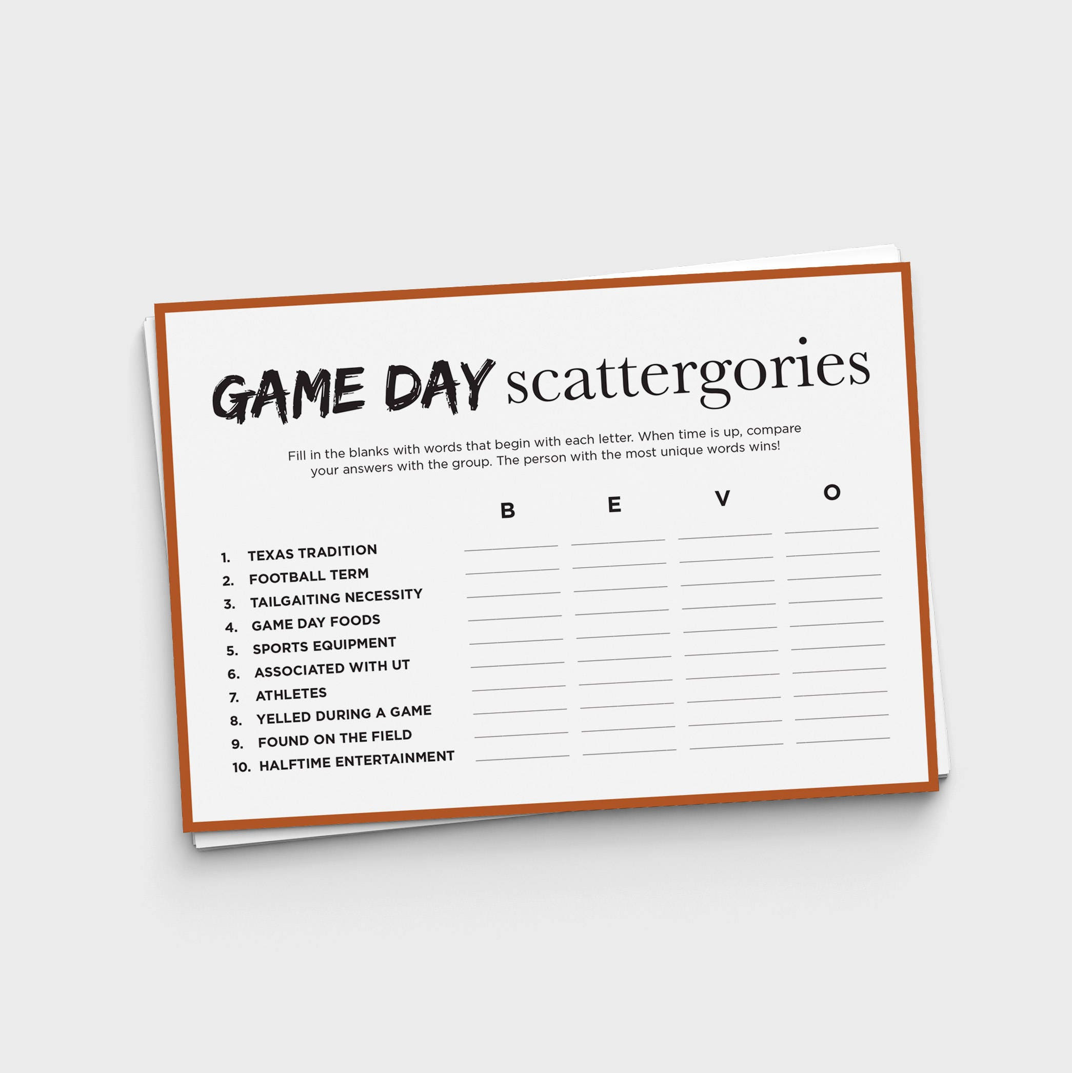 Gameday Scattergories Fun Texas Longhorn Party Game | Etsy