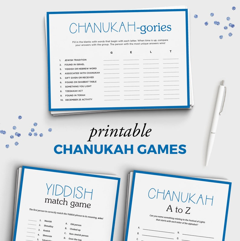 Hanukkah Party Games Bundle - 3 Printable Chanukah Games - Instant Download  - 5x7 Chanukah Games for Adults and Kids - Jewish Games