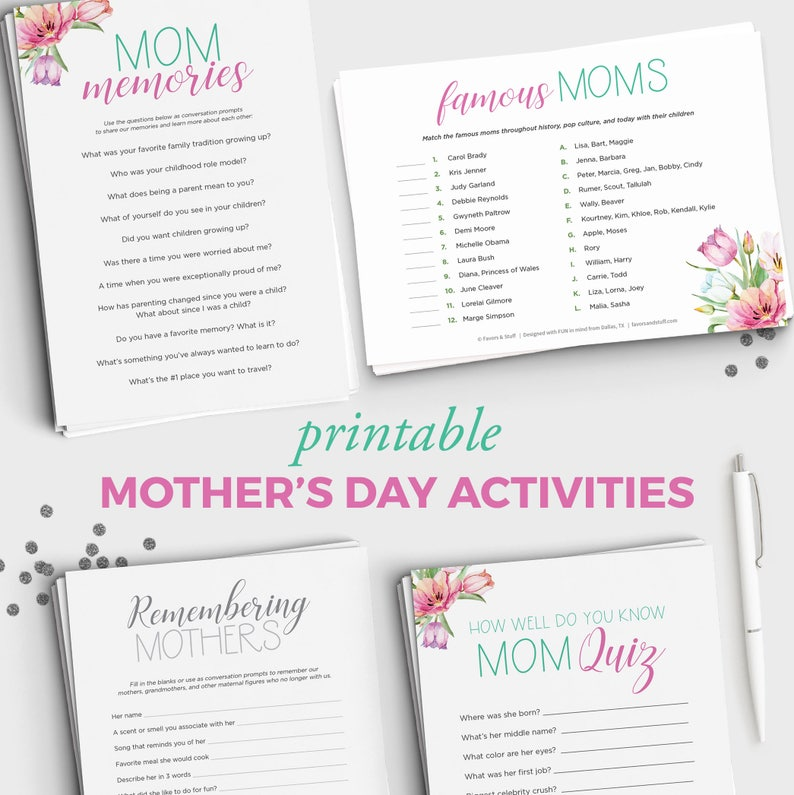 photo relating to Free Printable Mother's Day Games for Adults known as Moms Working day Routines - Printable Moms Working day Video game Offer - Mounted of 5 Game titles towards Perform with Mother upon Moms Working day - Fast Obtain