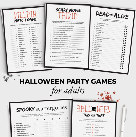 photo regarding Halloween Printable Games identified as 5 Halloween Game titles Deal - Enjoyment Halloween Get together Online games for Grown ups and Adolescents - Immediate Down load - 5x7 Halloween Printable - Grownup Halloween