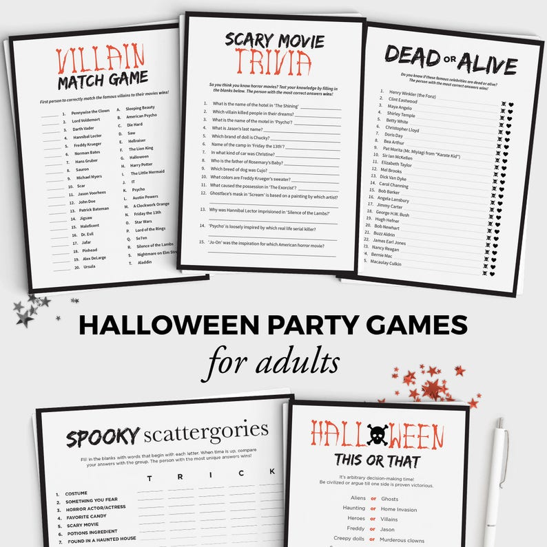 photograph relating to Printable Halloween Games Adults referred to as 5 Halloween Game titles Package - Pleasurable Halloween Celebration Game titles for Grown ups and Youngsters - Immediate Down load - 5x7 Halloween Printable - Grownup Halloween