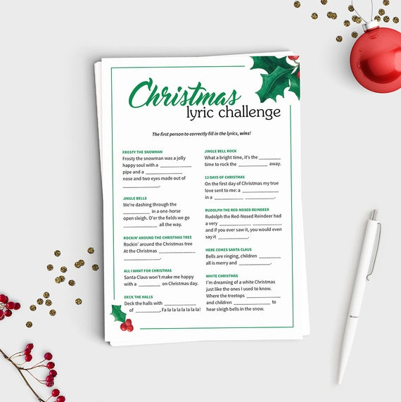 The First Day Of Christmas Lyrics.Christmas Lyric Challenge Fill In The Blank Christmas Song Game Instant Download 5x7 Printable Fun Christmas Party Game For All Ages