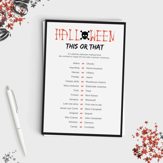 Halloween Game For Adults Or Teens This Or That Fun