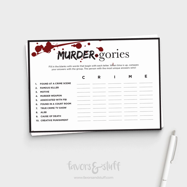 image about Scattergories Answer Sheets Printable titled Murderino Match - Correct Criminal offense Scattergories - My Preferred Murder Bash - Pleasurable Grownup Celebration Recreation - Immediate Down load - 5x7 Printable