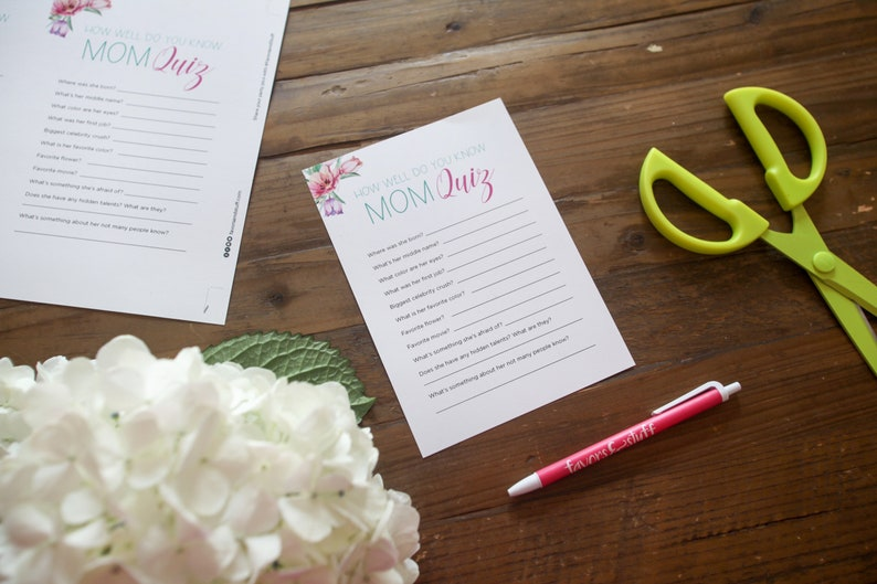 Mother's Day Printable Activity  How Well Do You Know Mom image 0