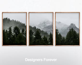 Set Of 3 Landscape Art Green Forest Printable Print Nature Piece Wall Modern Minimalist Misty Decor