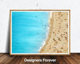 Contemporary Beach Wall Art Print, Modern Photography, Ocean Water, People, Photo, Printable Large Poster, Digital Download, Coastal Decor