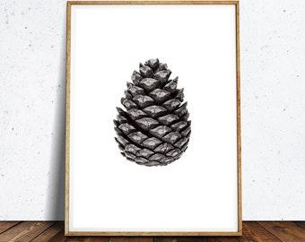 Pine cone decor Forest print Botanic poster ,Black and White Photography,Pine Cone Print, Pine Cone Decor, Nature Art, Minimalist Art,
