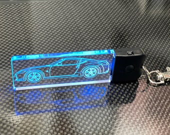 Nissan 370Z Line Drawing LED Keychain | Made in U.S.A | Color Changing | Stocking Stuffer | LED Keychain