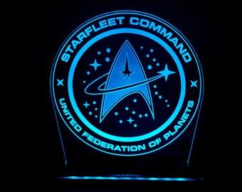 Star Trek Starfleet Command United Federation of Planets logo laser engraved LED illuminated night light for desks, bars, man caves.