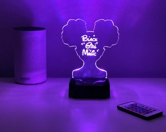 Black Girl Magic Night Light - LED Light | Color Changing | Neon Light Sign | Natural Hair | Teen Girl Room Décor | Afro Puffs