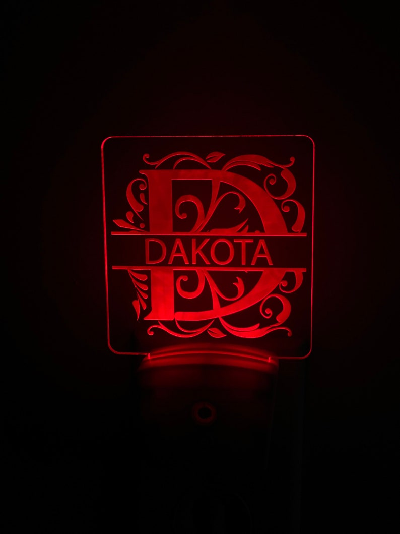 Personalized Acrylic Night Light Small night light Multiple Colors Plug In Night Light Monogram Light Split Letter Night Light