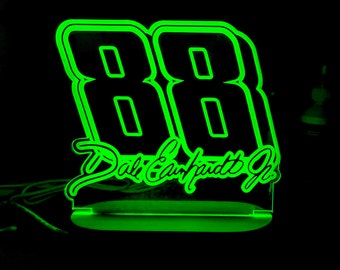 Dale Earnhardt Jr. LED Night Lamp with wireless remote control. Color-changing.