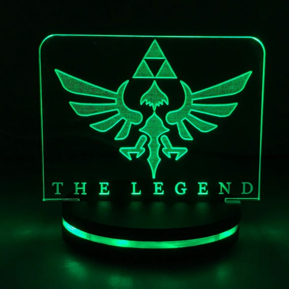 The Legend Of Zelda Hylian Crest With The Triforce Symbol Led Etsy