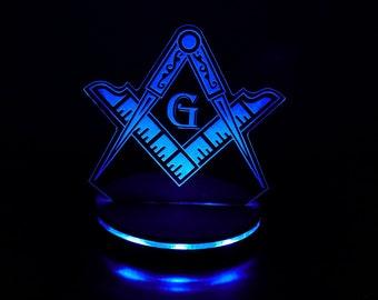 Custom Free Masons Masonic symbol LED illuminated night light