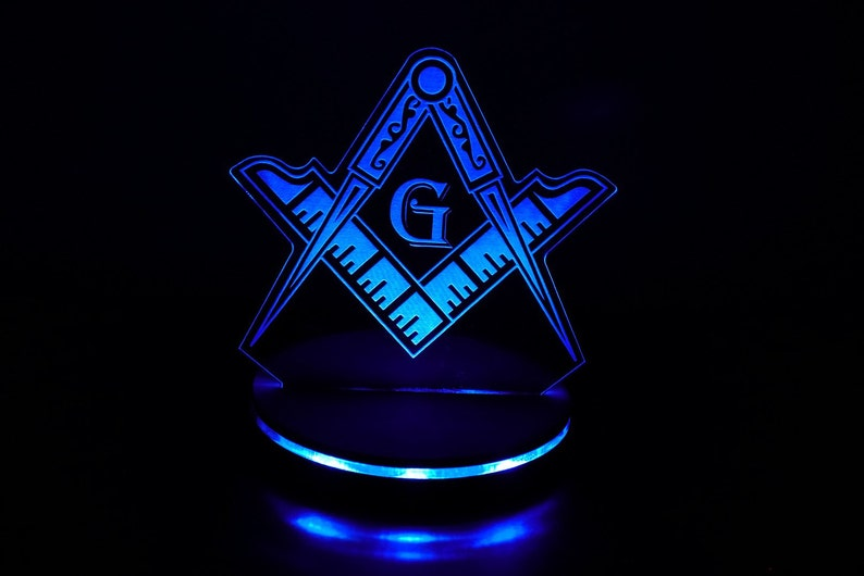 Custom Free Masons Masonic symbol LED illuminated night light image 0