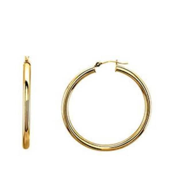 Diameter Hoop Earrings 9//16 14K Yellow Solid Gold 3mm Hinged 15mm
