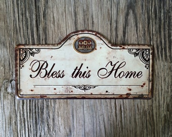 Vintage style tin metal sign // gift for her housewarming decor // shabby chic rustic nostalgic wall art // bless this home