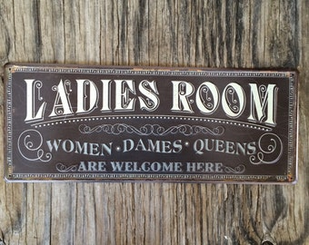 Vintage style tin metal sign / gift for her Mother's Day / shabby chic rustic nostalgic wall art / ladies room retro bathroom decor welcome