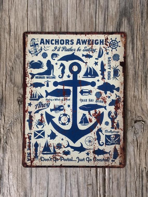 metal garage signs nautical anchor sailing metal tin sign