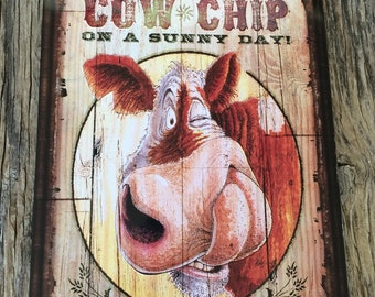 Vintage style tin metal sign // gift for him // fathers Day man cave // shabby chic rustic nostalgic wall art // funny country farm animal
