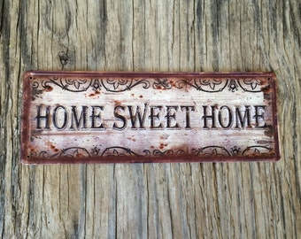 Vintage style tin metal sign // gift for her Mother's Day // shabby chic rustic nostalgic wall art // home sweet home welcome sign