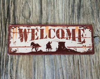 Vintage style tin metal sign // gift for him// fathers Day man cave / shabby chic rustic nostalgic wall art / cowboy country outdoor welcome
