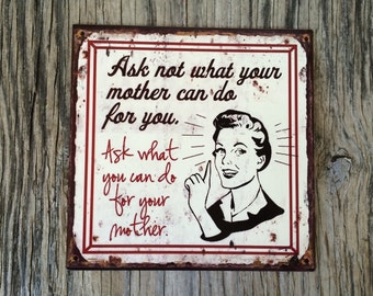 Vintage style tin metal sign // gift for her Mother's Day // shabby chic rustic nostalgic wall art // pin up girl retro housewife