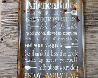 Vintage style corrugated tin metal sign // gift for her mothers Day // shabby chic rustic nostalgic wall art // kitchen rules quote