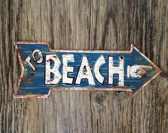 Vintage style tin metal sign // beach house gift // shabby chic rustic nostalgic wall art // nautical retro nursery decor // blue arrow hand