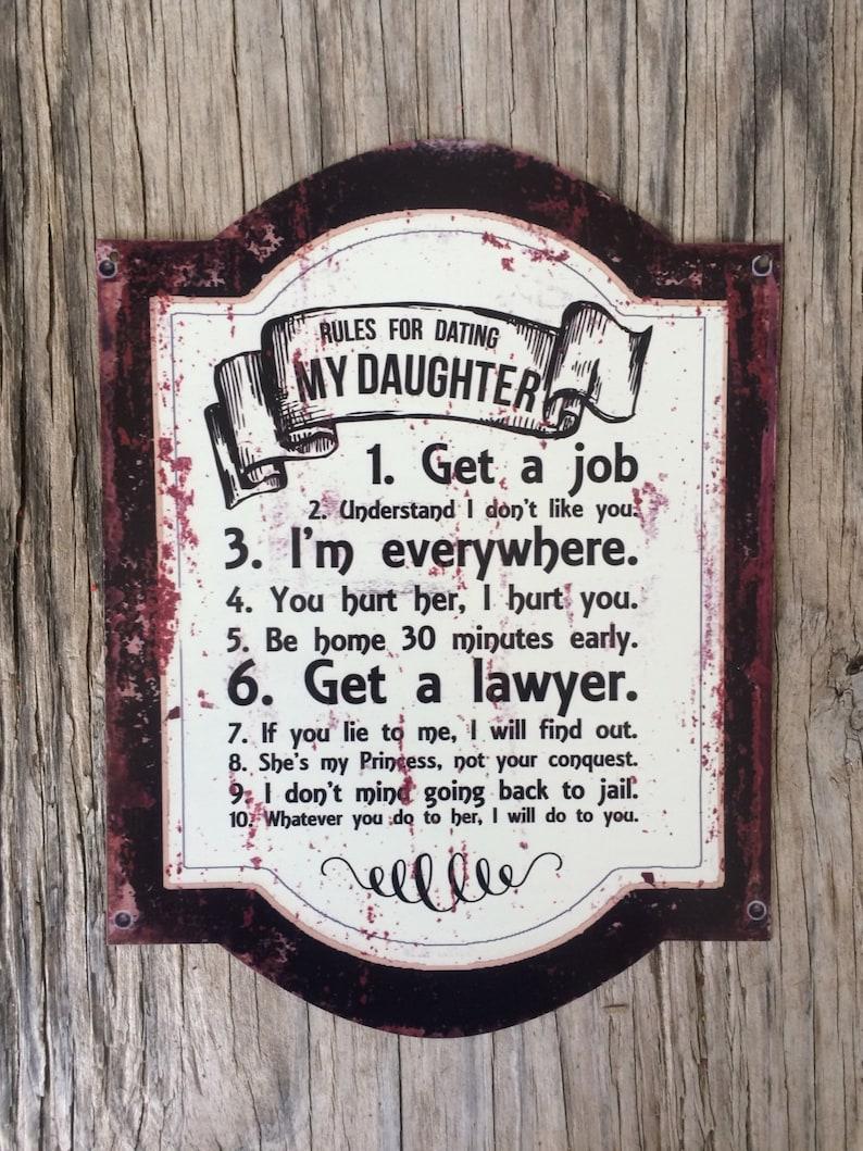 Règles pour datant de ma fille métal tin affiche de signe look vintage rétro