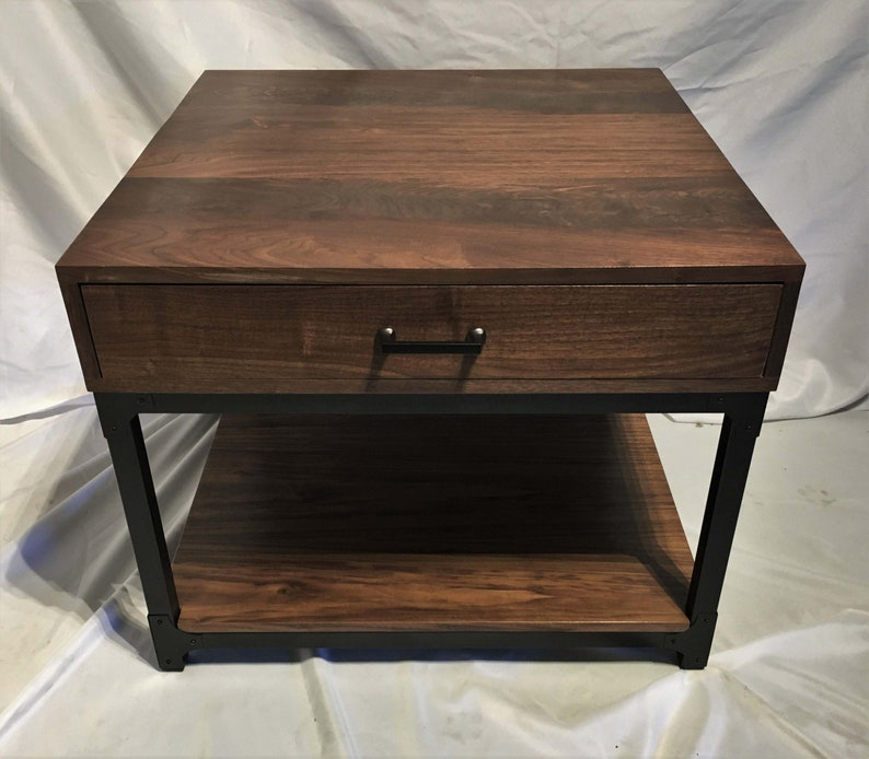 Black Walnut Industrial End Table Side Table