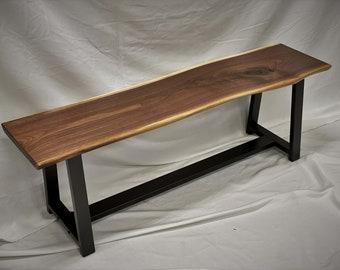 Shelton Industrial Live-edge Bench / Black Walnut Dining Bench / Entry & Foyer Bench