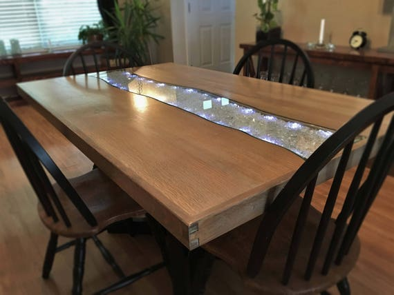 Starlight Glowing River Dining Table White Oak Etsy