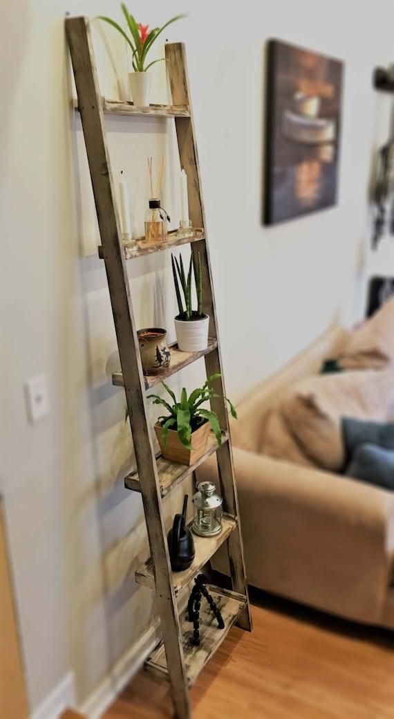 promo code 08f88 36232 Distressed Wood Ladder Shelf (Wall Mounted)
