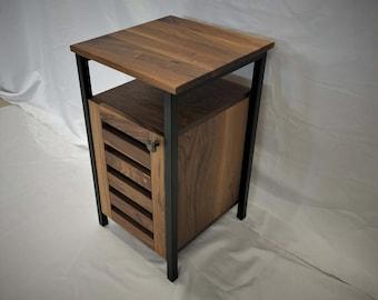 Brittain Industrial Side Table / Minimalist End Table / Solid Hardwood