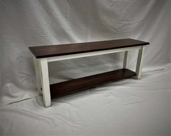Country Rustic Entry Bench / Foyer Mudroom Storage Bench / Knotty Pine Wood / Distressed Wood Entryway Bench