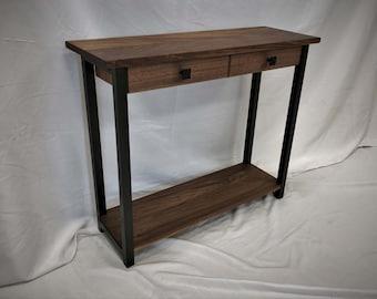 Palmer Minimalist Sofa Table / Industrial Console Table / Hardwood & Carbon Steel Entry Hallway Table