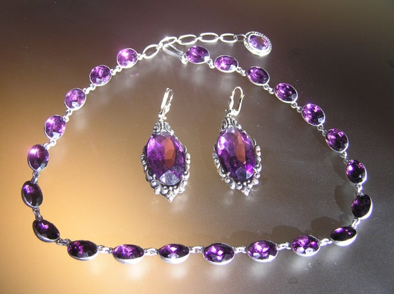 Georgian Silver Amethyst Paste Riviere Necklace an