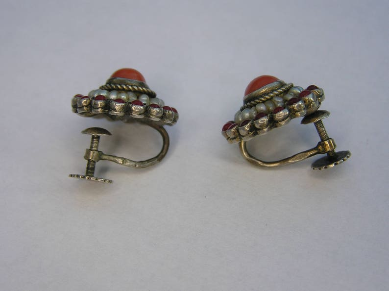 Antique Natural Seed Pearls Antique Natural Coral 750 Victorian Austro-Hungarian Silver Coral Earring- Antique Silver Earring