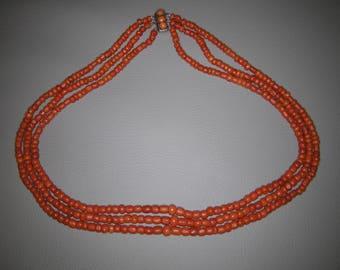 Victorian 3 Stranded Italian Coral Necklace - Antique Coral - Coral Necklace
